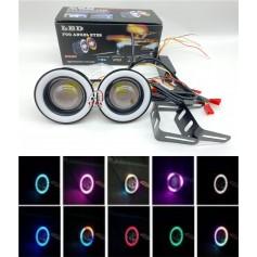 Pair 3.5 Inch Halo Angel Eye Ring COB LED Car Fog Light Projector Lamp