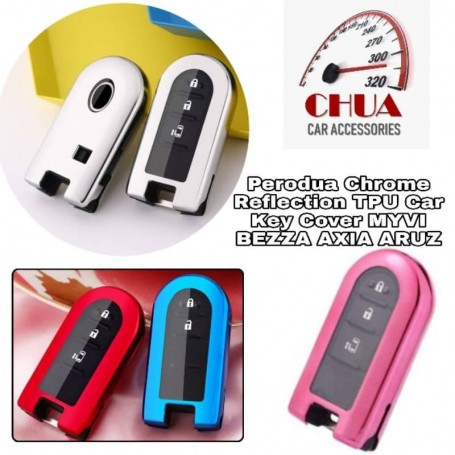 Perodua Chrome Reflection TPU Car Key Cover MYVI BEZZA AXIA ARUZ